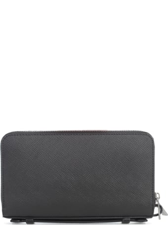 Michael Kors Solid Crossgrain Lthr Money Bag Wallet