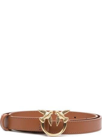 Pinko Love Berry Belt In Brown Leather With Logoed Buckle