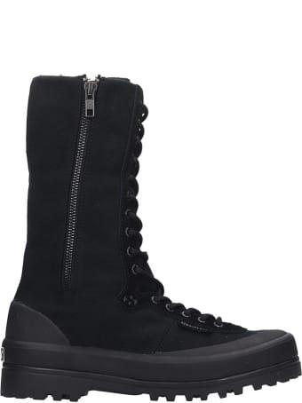 Superga Alpina High Sneakers In Black Canvas