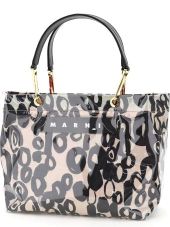 Marni Glossy Grip Tote Bag Abstract Drops