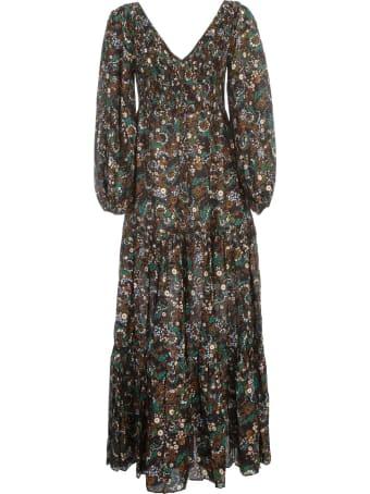 RIXO Dress L/s V Neck Midi
