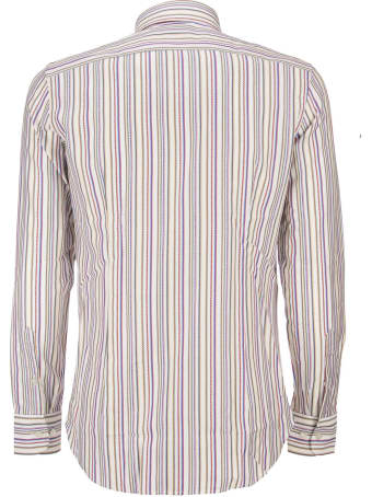 Etro Striped Cotton Shirt With Embroidered Pegaso Multicolor