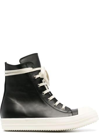 Rick Owens Black Leather Hi-top Sneakers