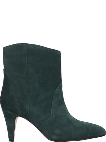 Bibi Lou High Heels Ankle Boots In Green Suede