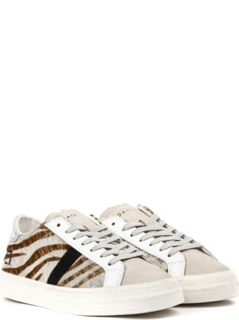 D.A.T.E. Hill Low Sneakers In Zebra Printed Ponyskin