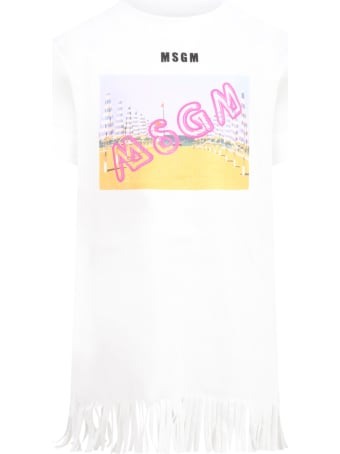 MSGM White Dress For Girl With Colorful Print
