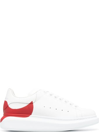Alexander McQueen Woman White Oversize Sneakers With Red Print On The Heel