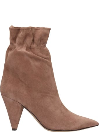 Fabio Rusconi Ankle Boots In Powder Suede