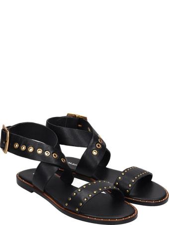 Lola Cruz Flats In Black Leather