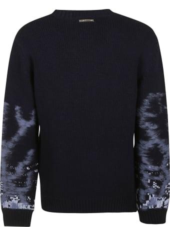 Les Hommes Needle Sleeved Round Neck Sweater