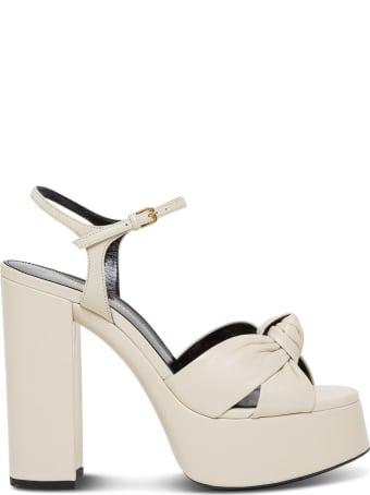Saint Laurent White Leather Sandals