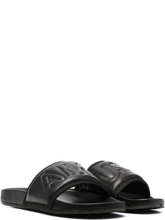 AMBUSH Black Leather Slides