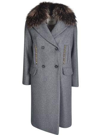 Bazar Deluxe Furry Detailed Double-breasted Coat