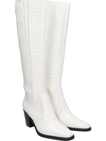 Ganni High Heels Boots In White Leather