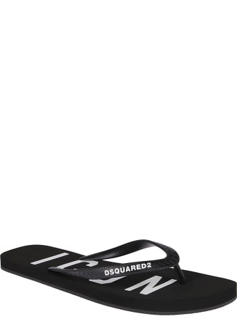 Dsquared2 Black Rubber Flip Flops