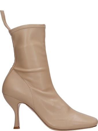 GIA COUTURE High Heels Ankle Boots In Beige Suede