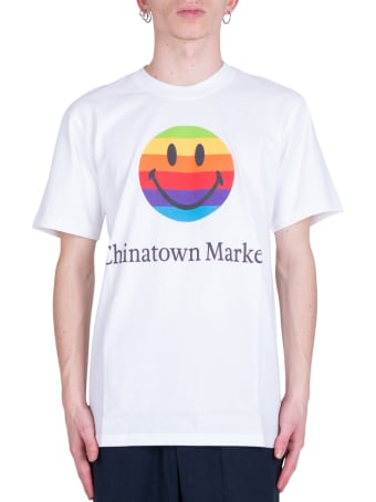 Chinatown Market Smiley Rainbow T-shirt- White