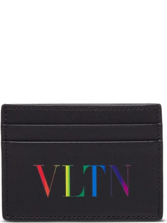 Valentino Garavani Vltn Multicolor Card Holder In Black Leather