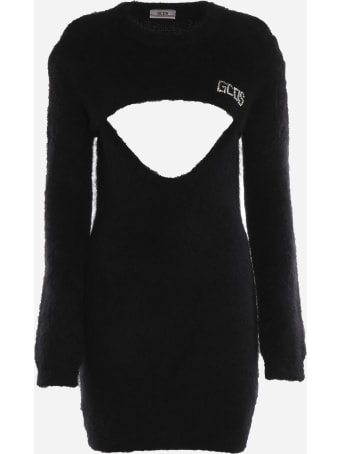 GCDS Mini Dress In Mohair Blend With Cut-out Detail