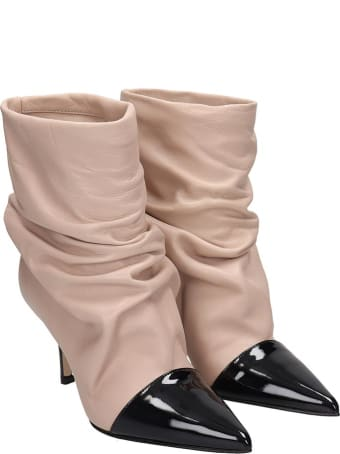 Marc Ellis High Heels Ankle Boots In Powder Leather