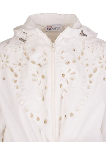 RED Valentino White Floral Embroidery Hooded Parka