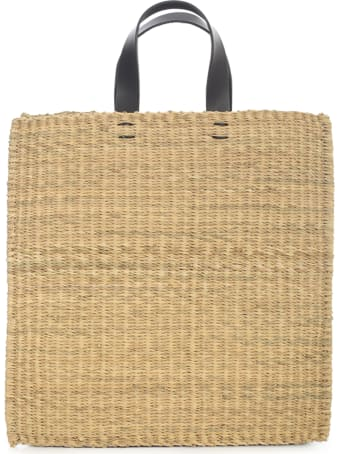Muun Square Straw Bag W/cotton On Side And Leather Handle
