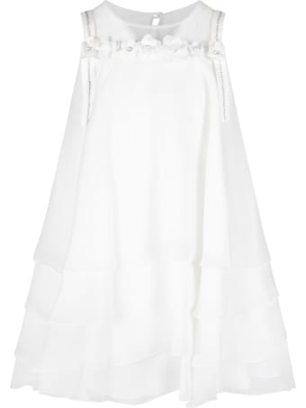 Loredana White Dress For Girl With Rhinestones