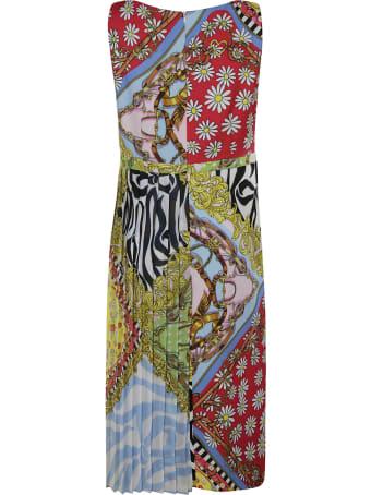 Moschino Long Pleated Sleeveless Dress
