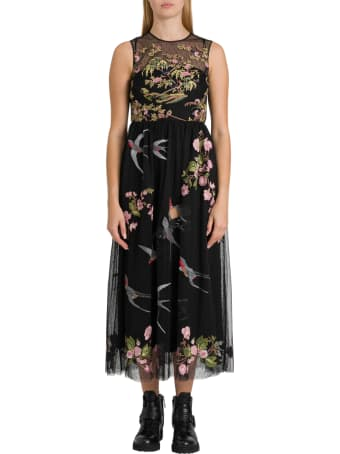 RED Valentino Swallows And Flowers Embroidered Tulle Dress