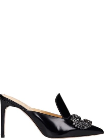 Giannico Daphne Mule 85 Sandals In Black Leather