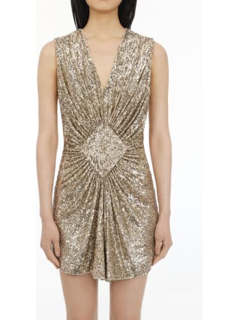 Balmain Short Dress With Golden Sequins