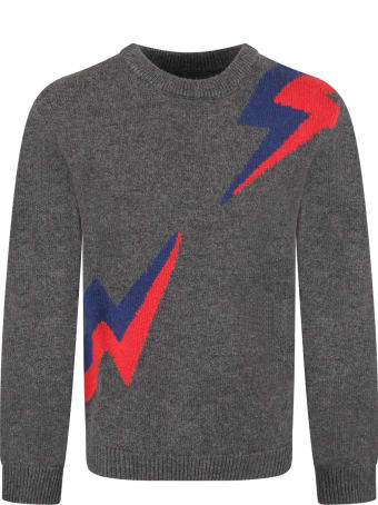 Zadig & Voltaire Grey Boy Sweater With Blue And Red Thunders