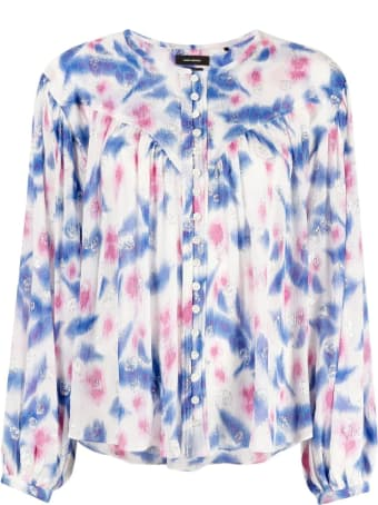 Isabel Marant White, Blue And Pink Silk-blend Blouse