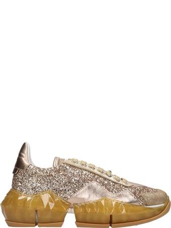 Jimmy Choo Diamond Sneakers In Gold Tech/synthetic