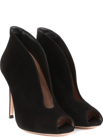 Gianvito Rossi Black Vamp Ankle Boots In Suede