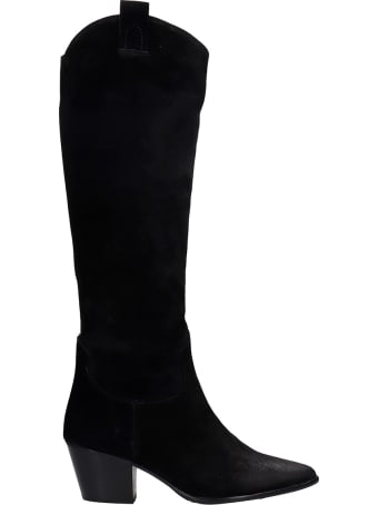 Pedro Miralles Cortina Texan Boots In Black Suede