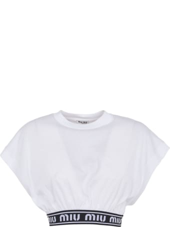 Miu Miu Waist Logo Detail Cropped Top