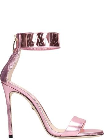 Grey Mer Pink Metal Sandals