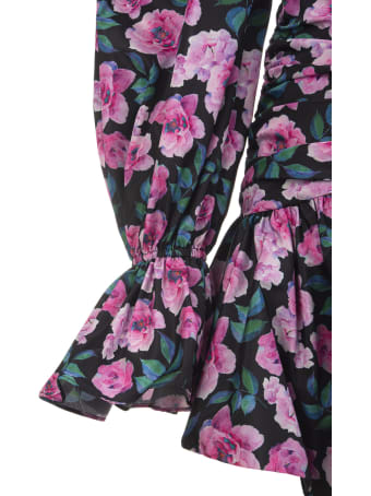 Giuseppe di Morabito Black Floral Short Dress With Off Shoulders
