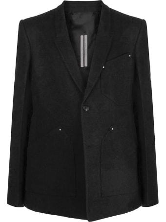 Rick Owens Black Cotton-wool Blend Blazer