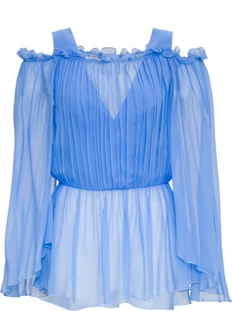 Alberta Ferretti Pleated Shirt In Viscose Blend
