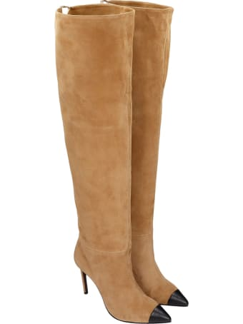 Grey Mer High Heels Boots In Leather Color Suede