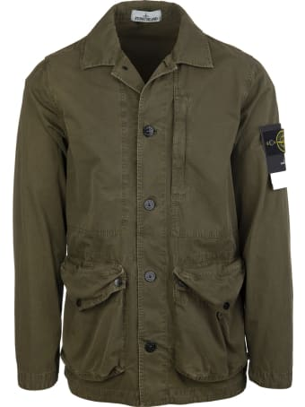 Stone Island Army Green Tela Cotton Overshirt Jacket
