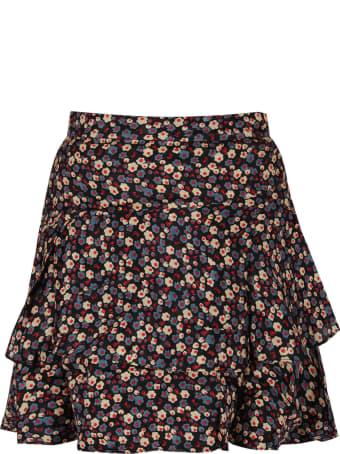 Bonpoint Black Girl Skirt With Flowers