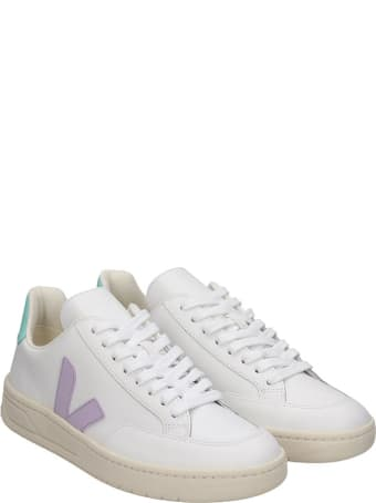 Veja V-12 Sneakers In White Leather