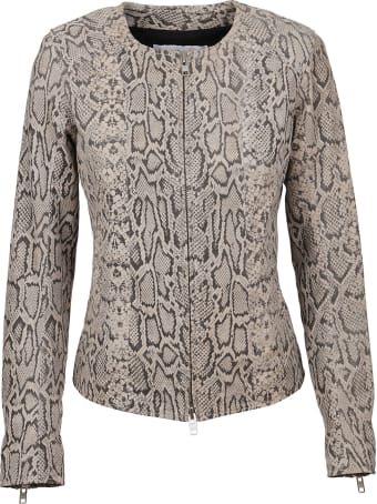Bully Python Print Leather Jacket