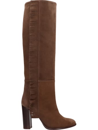 Anna F. High Heels Boots In Brown Suede