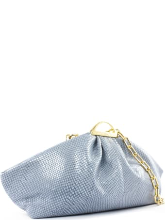 the VOLON Light Blue Leather Gabi Clutch Bag