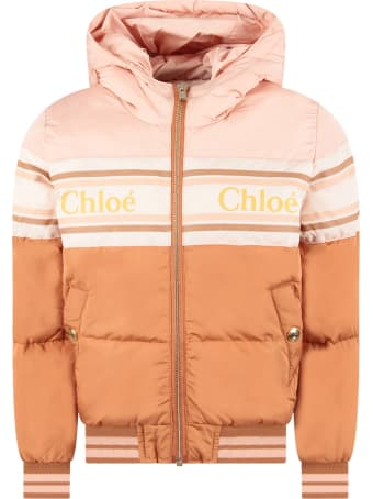 Chloé Color Block Girl Padded Jacket With Logo