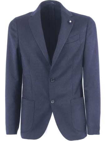 Lardini Blue Check Wool Blend Single Breasted Blazer